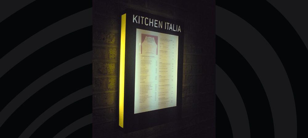 Illuminated menu box for Kitchen Italia