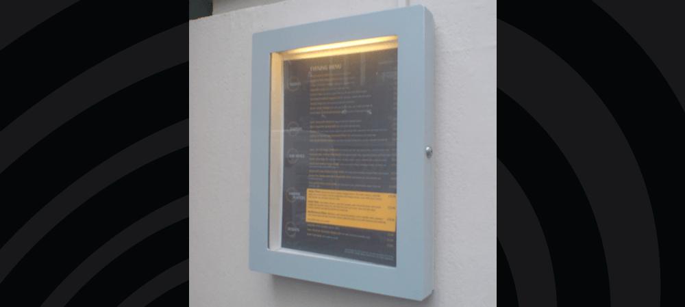 Internally lit menu box