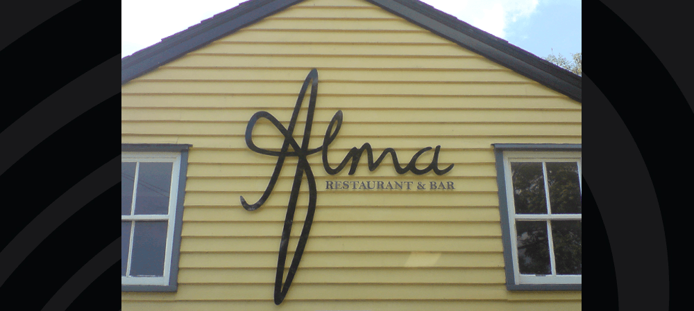 Signage for Alma Restaurant & Bar