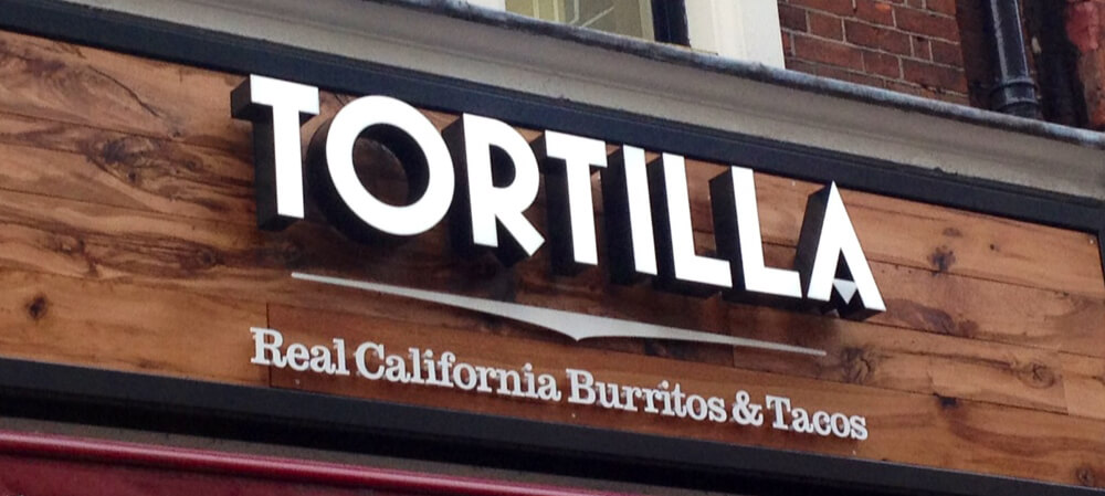 Shopfront signage for Tortilla