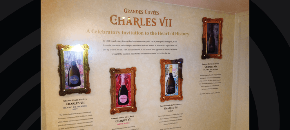 Wall display for Grandes Cuvées Charles VII