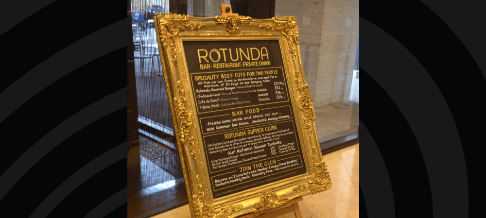 Gold gilt frame menu for Rotunda Bar & Restaurant