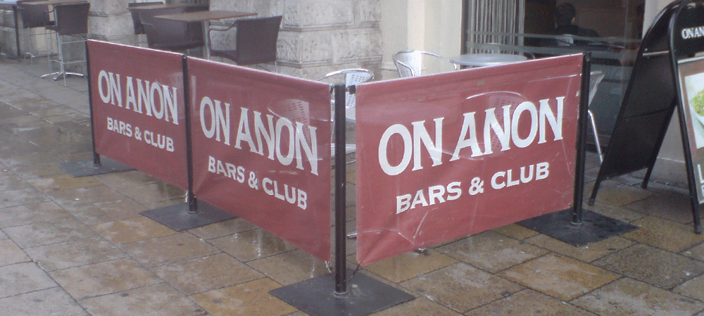 Café style banners for On Anon Bars & Clubs