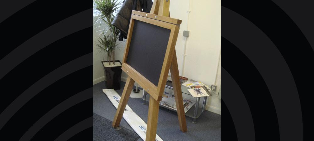 Real wood chalkboard easel