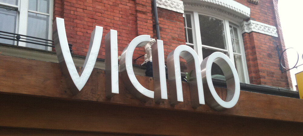 Restaurant Vicino Italian Restaurant shopfront signage