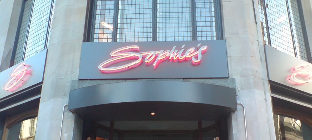sophies illuminated front signage