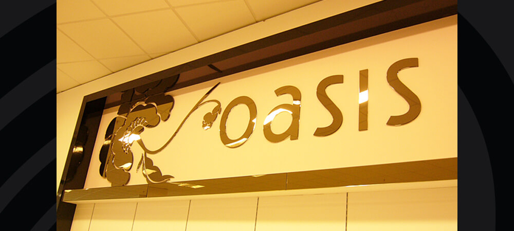Interior sign for Oasis