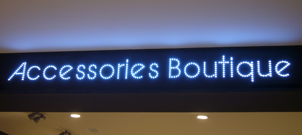 Accessories Boutique illuminated shopfront signage