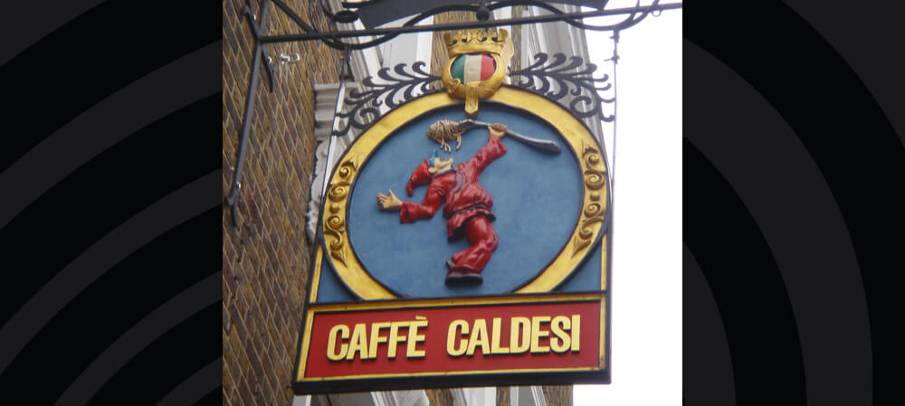 Hanging sign for Caffé Caldesi restaurant