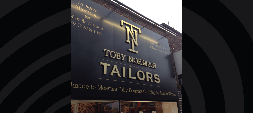 Exterior signage for Toby Norman Tailors