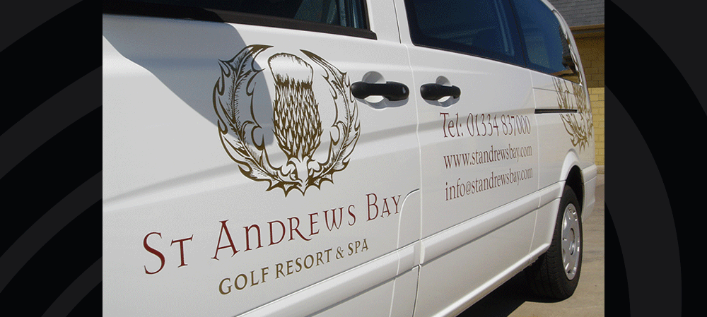 Vehicle livery for St Andrew's Bay golf resort & spa