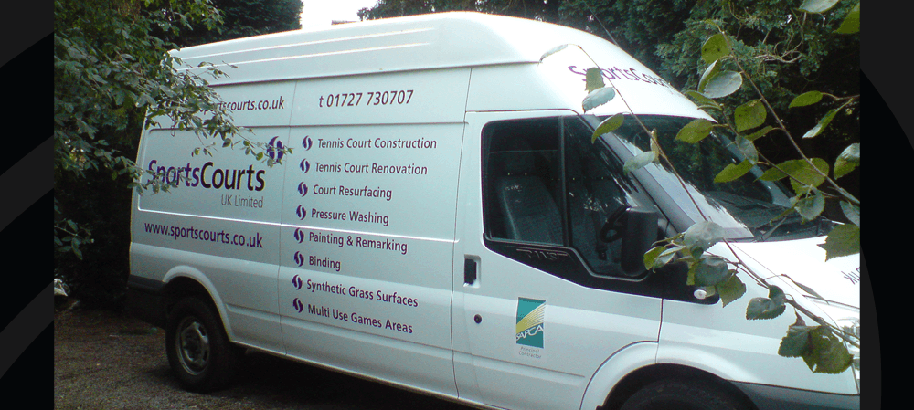 Vehicle livery for SportsCourts UK