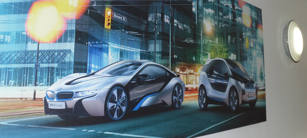Large format window posters for BMW