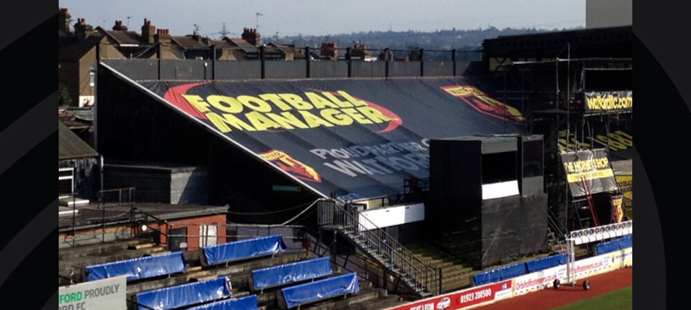 Bespoke stand cover for Watford Football Club