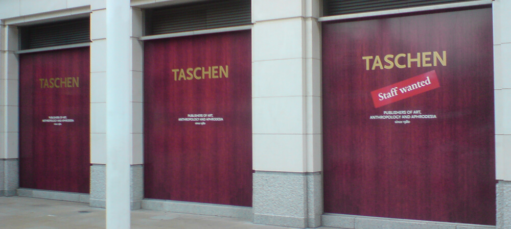 Large format window poster for Taschen