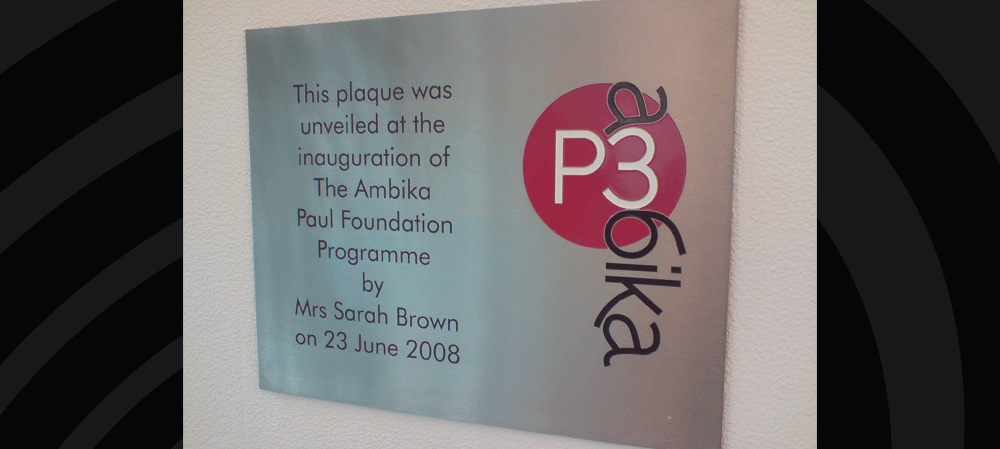 Brushed aluminium plaque for The Ambika Paul Foundation Programme
