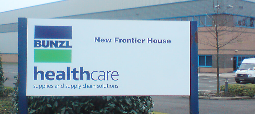 Bunzl Healthcare branch office signage
