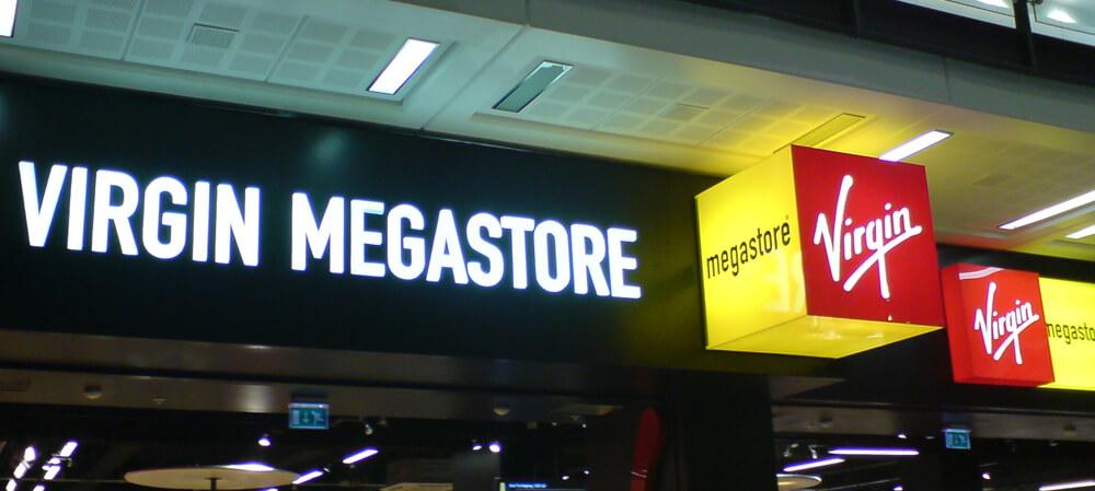 Interior illuminated signage for Virgin Megastore