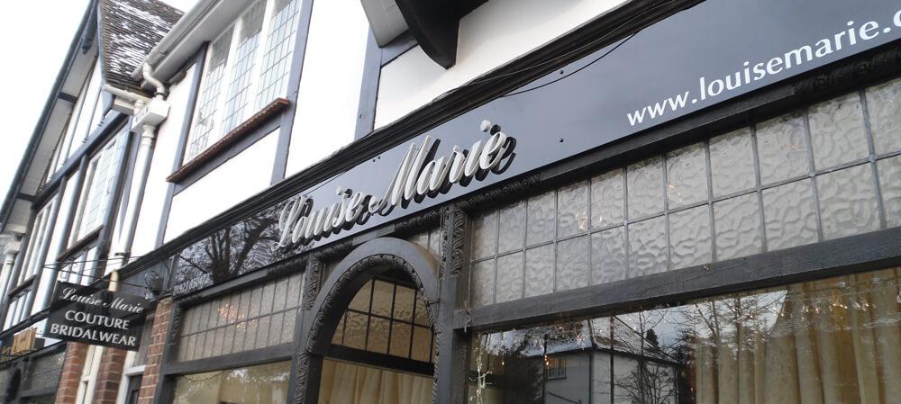 Exterior shopfront signage for Louise Marie Bridalwear