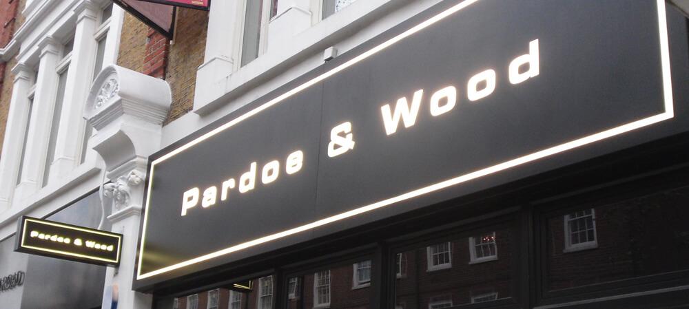 Pardoe & Wood exterior signage