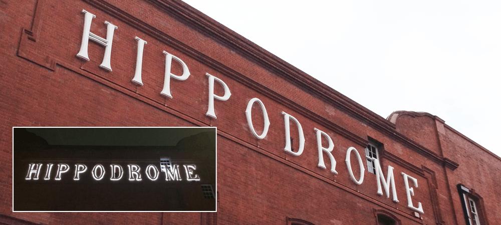 Exterior signage for the Hippodrome Casino