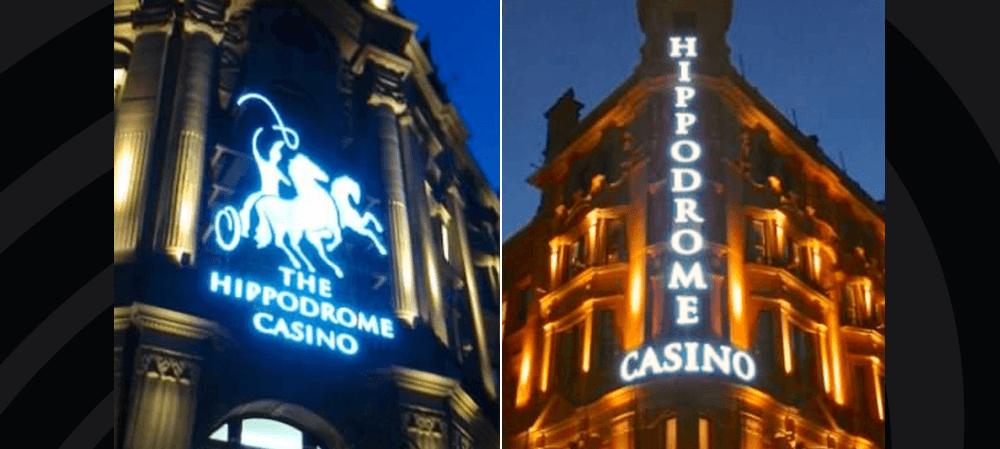 Illuminated lit sign for The Hippodrome Casino