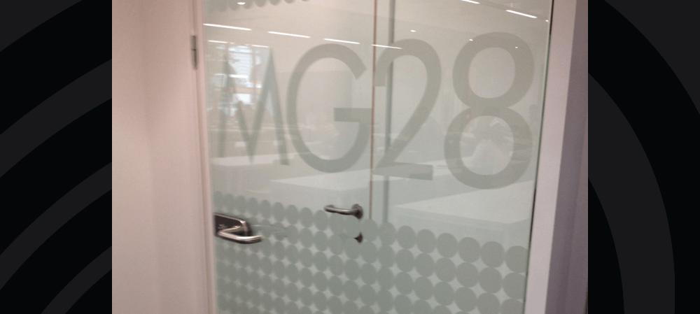 Frosted vinyl on glass doors