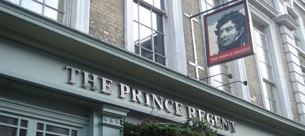 Signage for The Prince Regent public house