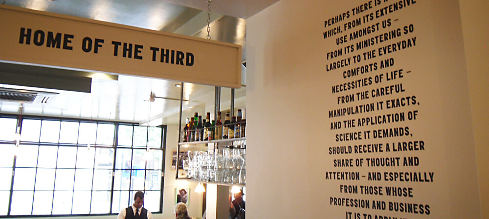 Interior wall display and hanging sign