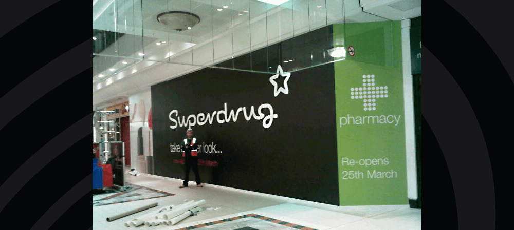Wall display for Superdrug