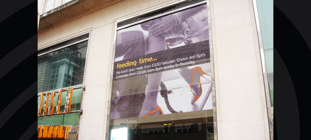 Large format window posters for Tiger Tiger, London