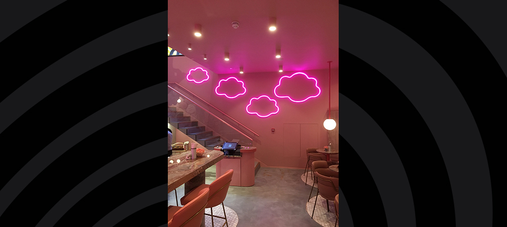 illuminated clouds signage