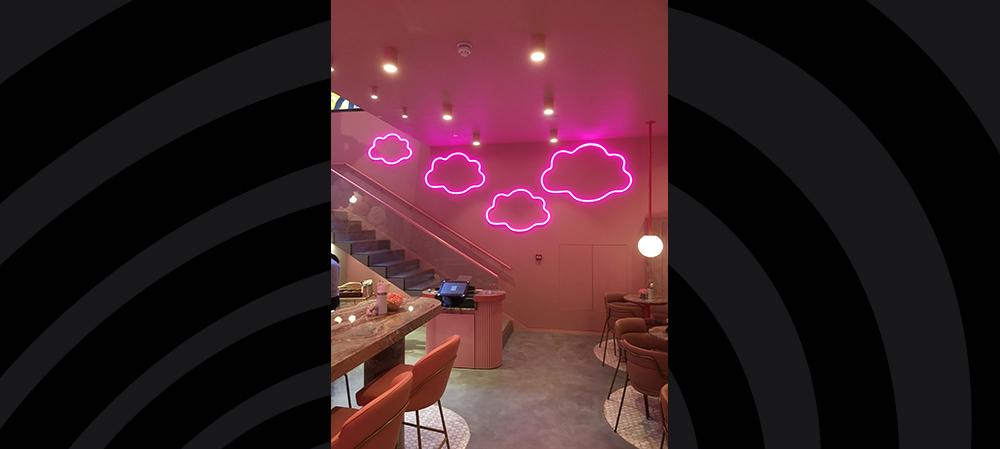 illuminated clouds signage