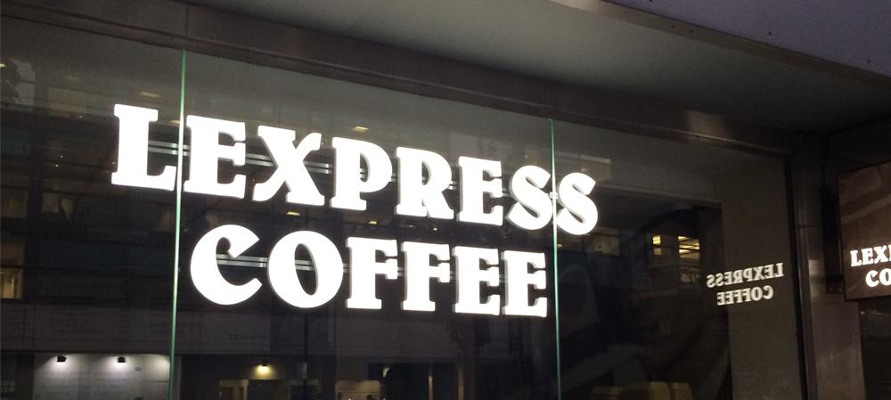lexpress coffee illuminated shopfront sign