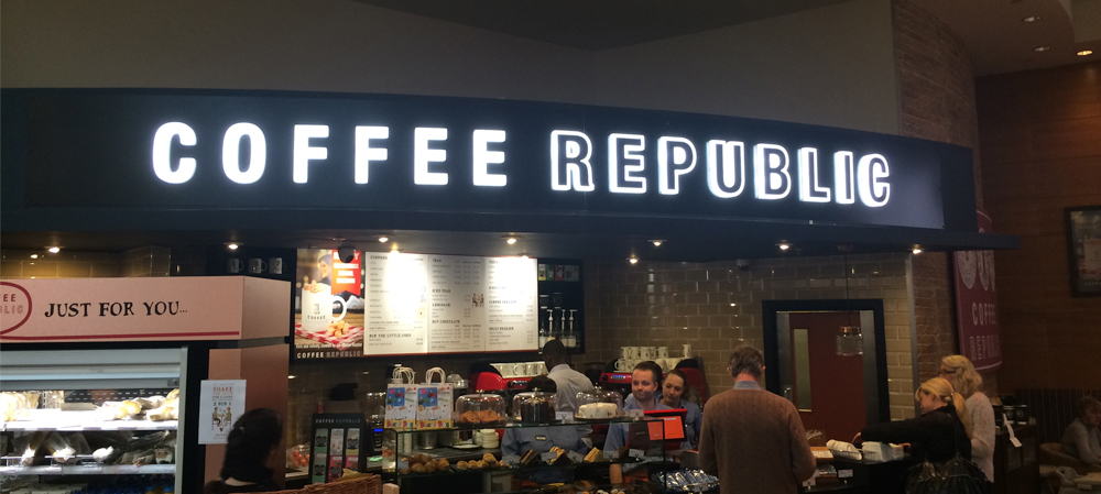 coffee republic shop illuminated signage