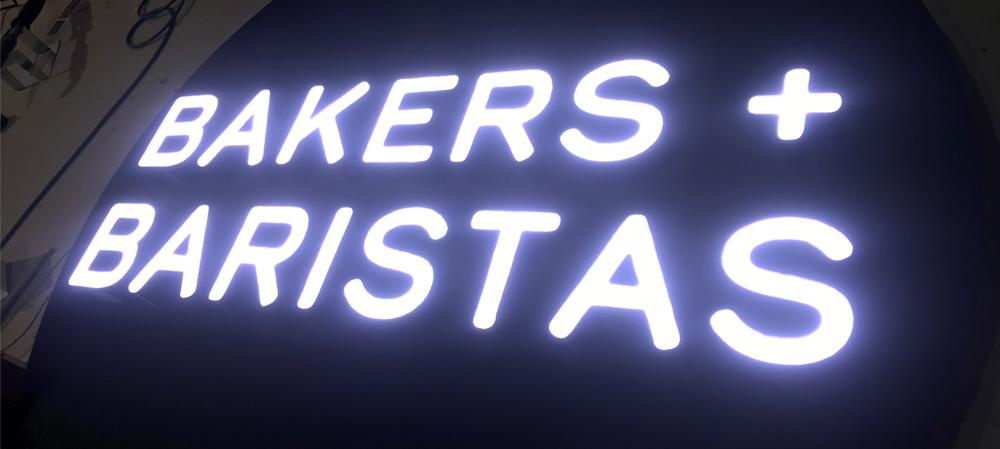 bakers and baristas illuminated signage