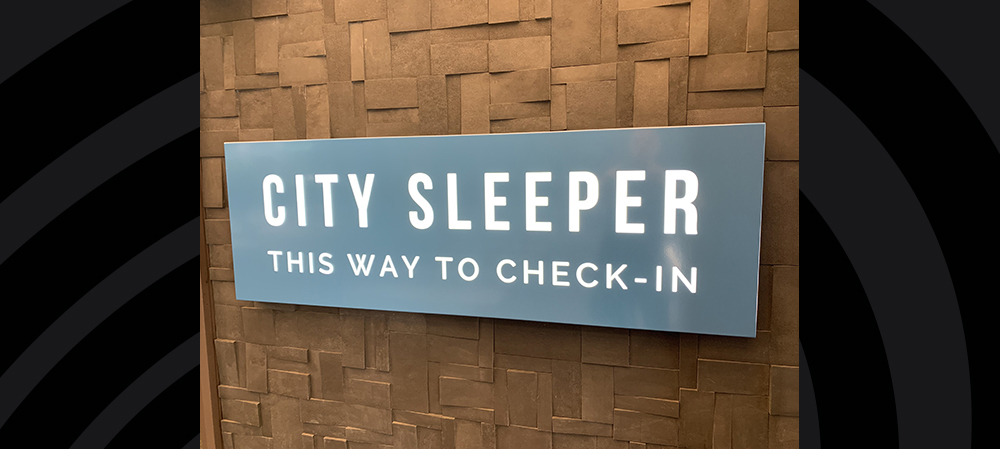 city sleeper small external signage