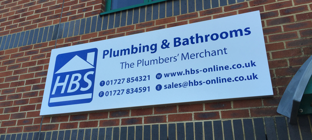 HBS plumbing and bathrooms store front signage
