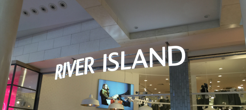 river island exterior illuminated signage
