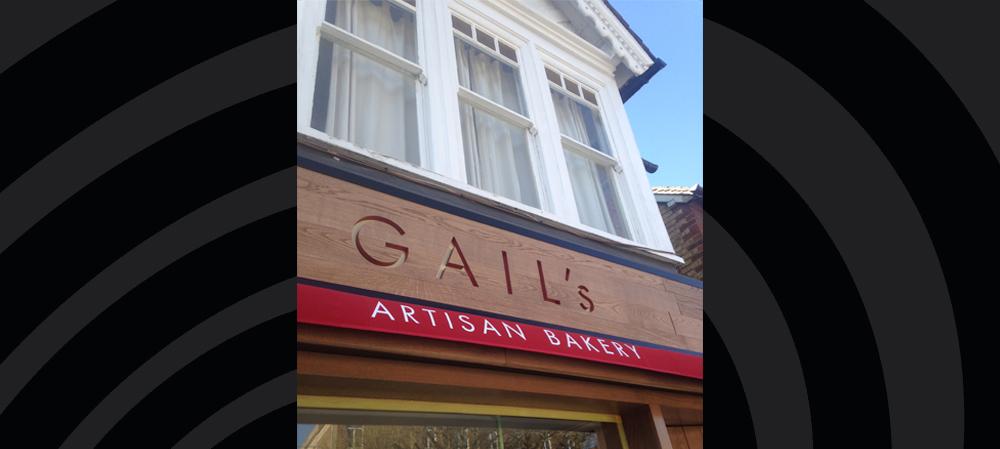 wooden Gails artisan bakery signage