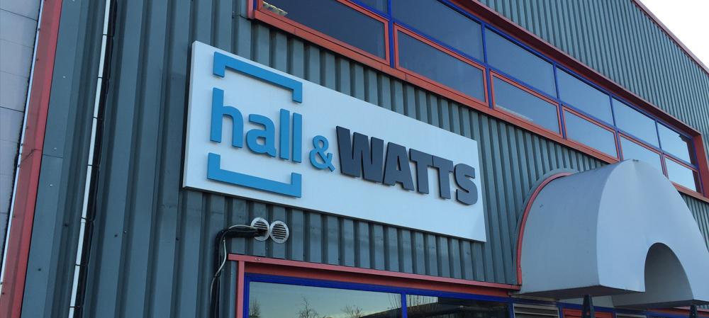 hall & watts external sign