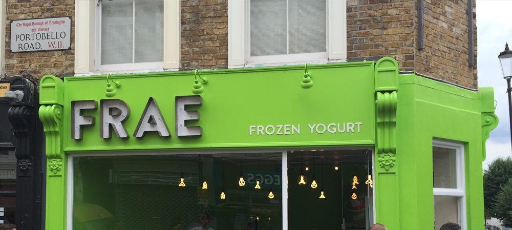 frae frozen yoghurt shop front signage