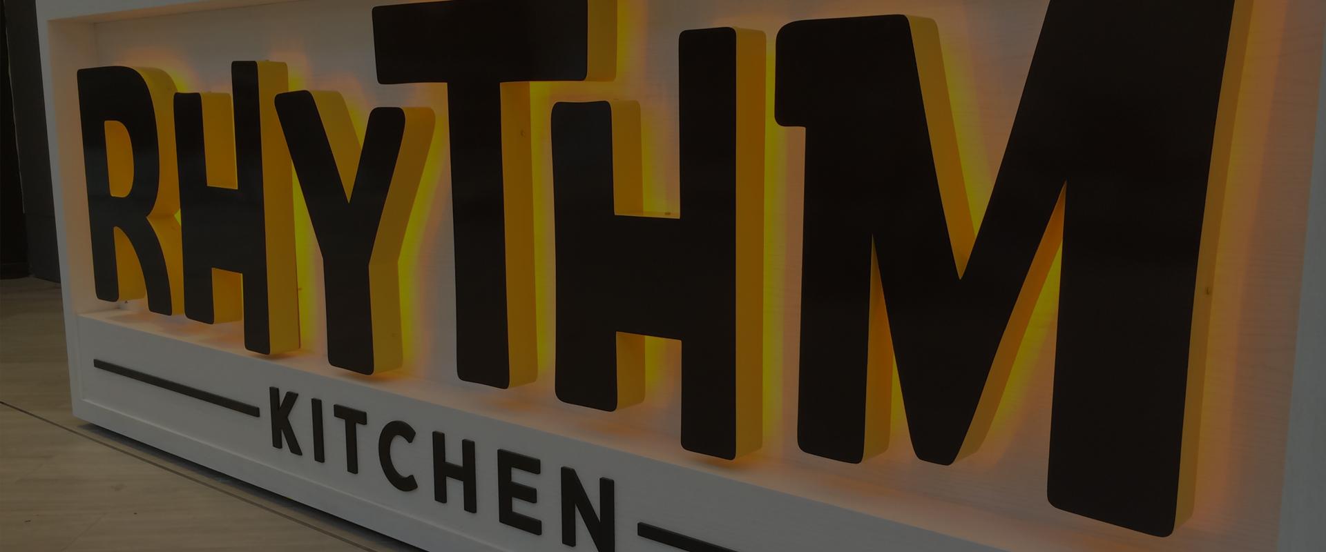 rhythm kitchen internal illuminated signage