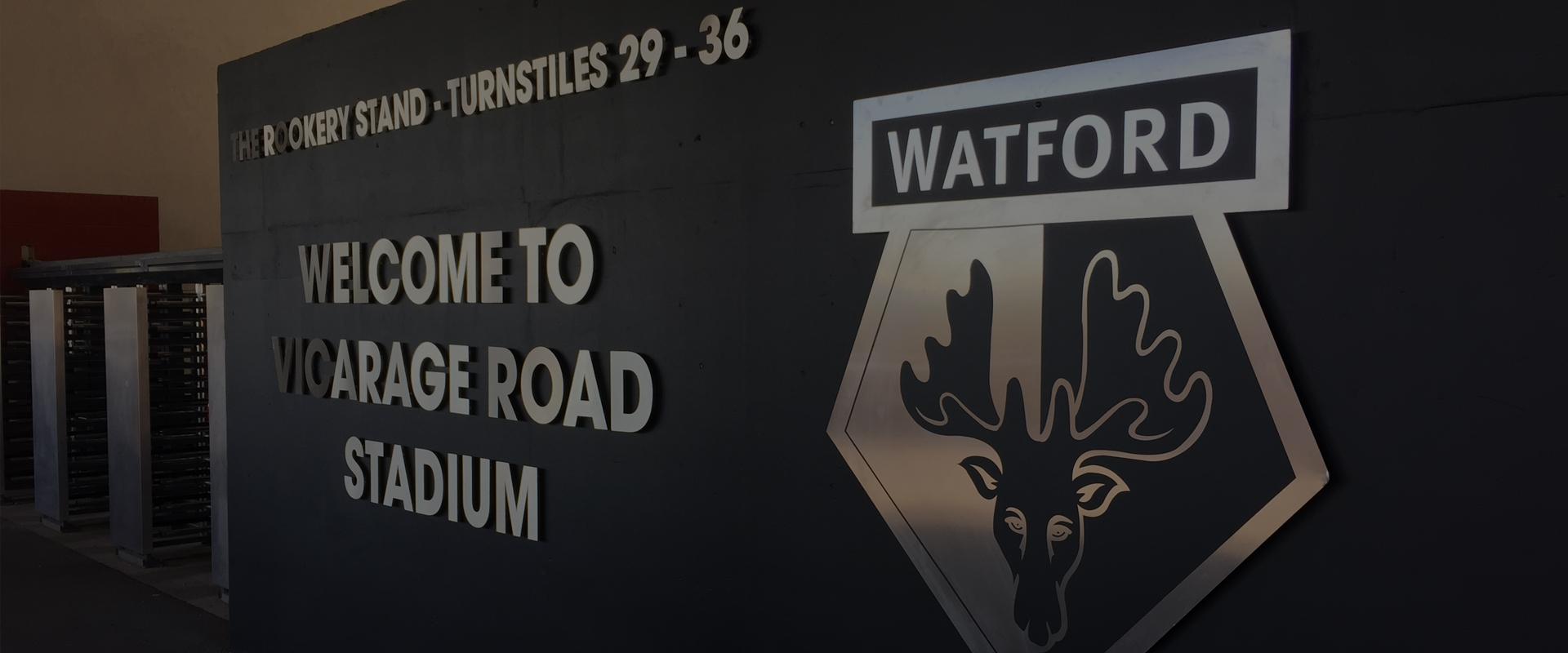 vicarage road stadium watford external signage