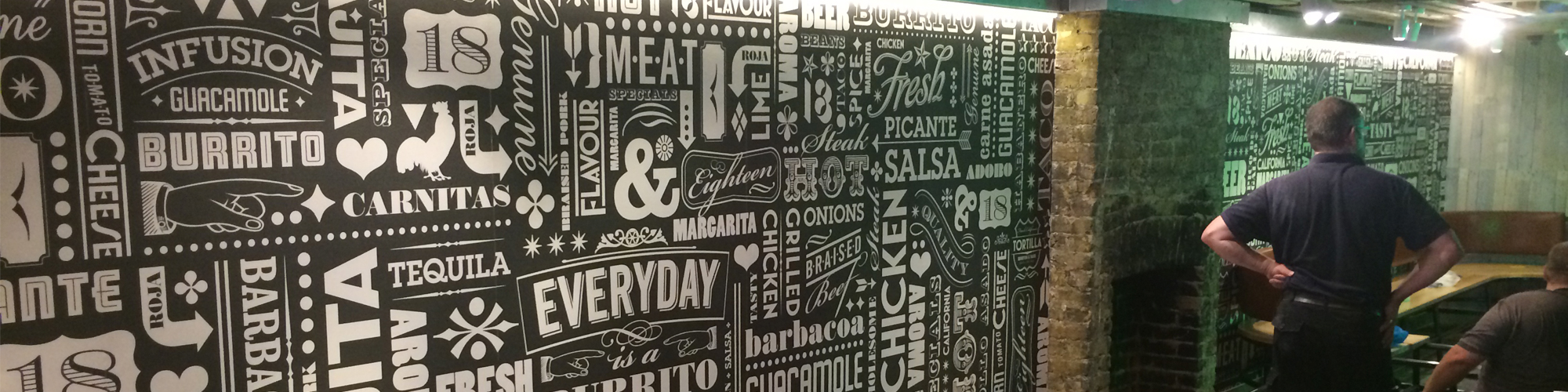 wall graphics for restaurant internal