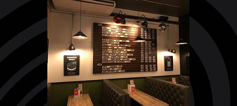 internal menu for restaurant wall