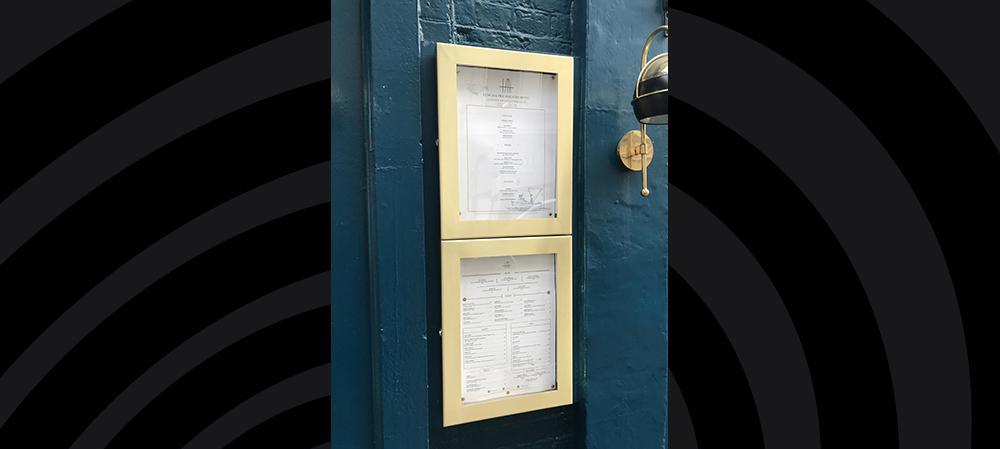 external menu box for restaurant