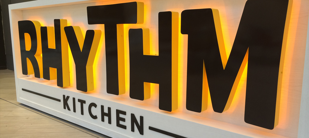 rhythm kitchen illuminated internal signage