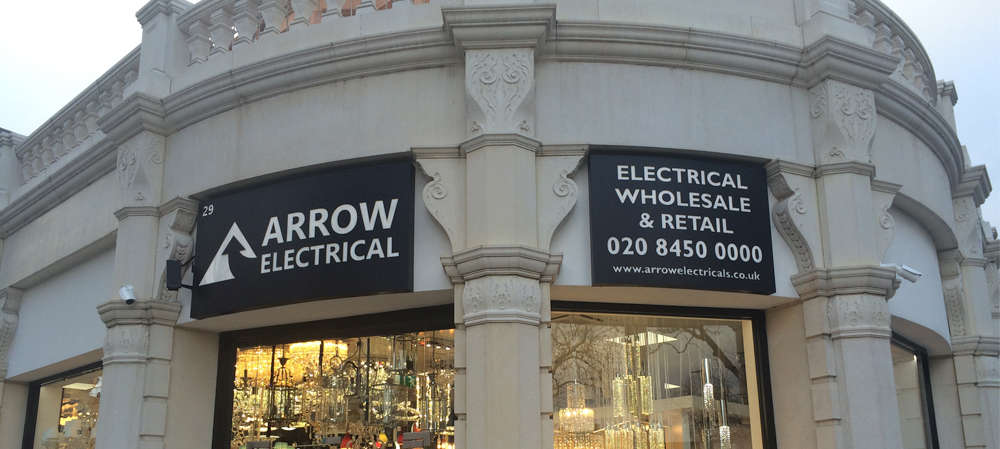 arrow electrical shop front signage