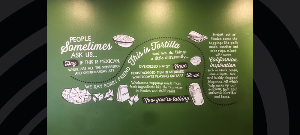 bespoke wall graphics for inside restaurant